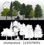 Stock photo row of pines and green trees isolated on transparent background via an alpha channel very high 1154578591