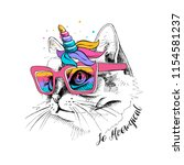 Stock vector cute cat in a unicorn mask rainbow glasses mane horn so meowgical lettering quote humor card 1154581237