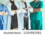 group of happy doctor surgeon... | Shutterstock . vector #1154581981