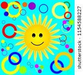 happy smiling sun pattern.... | Shutterstock .eps vector #1154588227
