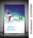 happy snowman wearing santa hat ... | Shutterstock .eps vector #115459069