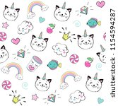 funny cat unicorn head with... | Shutterstock .eps vector #1154594287