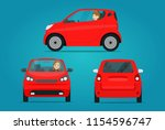red  ompact city car set. car... | Shutterstock .eps vector #1154596747
