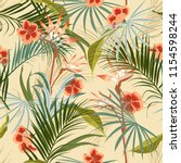 exotic retro vintage tropical... | Shutterstock .eps vector #1154598244