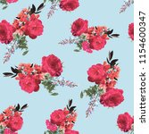 flowers fashion fabric pattern... | Shutterstock . vector #1154600347