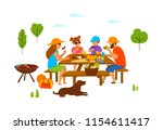 family with kids and dog at a... | Shutterstock .eps vector #1154611417