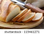 fresh white loaf of bread  ... | Shutterstock . vector #115461271
