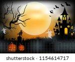 halloween night background with ...   Shutterstock .eps vector #1154614717