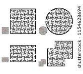 set of labyrinths  mazes...   Shutterstock .eps vector #1154628694