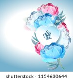 delicate peony flowers with a... | Shutterstock .eps vector #1154630644