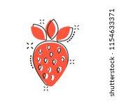 vector cartoon strawberry fruit ... | Shutterstock .eps vector #1154633371