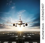 commercial airplane taking off... | Shutterstock . vector #1154642407