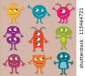 friendly monsters vector set | Shutterstock .eps vector #115464721