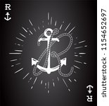vintage label with an anchor... | Shutterstock .eps vector #1154652697