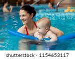 baby with mom learns to swim in ...   Shutterstock . vector #1154653117