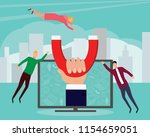 hand with magnet for custumers. ...   Shutterstock .eps vector #1154659051