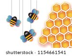 origami gold honeycomb and... | Shutterstock .eps vector #1154661541