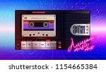 cassettophone 80's music cover. ... | Shutterstock .eps vector #1154665384