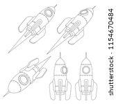 rocket spacecraft is a contour... | Shutterstock .eps vector #1154670484