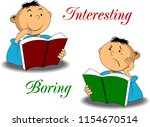 two boys are reading books.... | Shutterstock .eps vector #1154670514