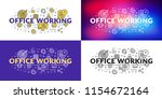 office working. flat line... | Shutterstock .eps vector #1154672164