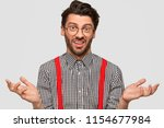 clueless hesitant male with... | Shutterstock . vector #1154677984