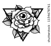 rose and eye tattoo with sacred ... | Shutterstock .eps vector #1154678761
