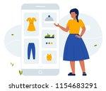 scene illustration. online... | Shutterstock .eps vector #1154683291