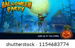 halloween party poster with... | Shutterstock .eps vector #1154683774