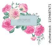 vector vintage floral greeting... | Shutterstock .eps vector #1154687671