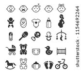 baby icons set. vector... | Shutterstock .eps vector #1154692264