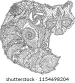 detailed adult coloring book... | Shutterstock .eps vector #1154698204