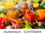 autumn homemade preserved...   Shutterstock . vector #1154706004