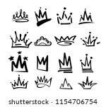 crown logo graffiti icon. black ... | Shutterstock .eps vector #1154706754