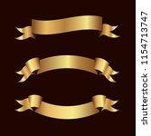 set of golden ribbons vector. | Shutterstock .eps vector #1154713747