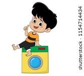 kid help their parents wash... | Shutterstock .eps vector #1154714434