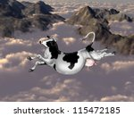illustration of a cow flying... | Shutterstock . vector #115472185