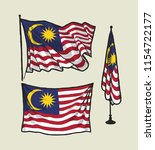 flag of malaysia on the wind... | Shutterstock .eps vector #1154722177