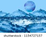 Watercolor Blue Mountain...