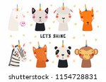set of cute funny animals with... | Shutterstock .eps vector #1154728831