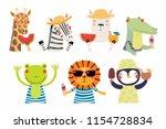 set of cute funny summer... | Shutterstock .eps vector #1154728834