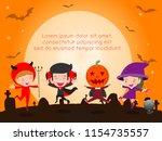 happy halloween poster party... | Shutterstock .eps vector #1154735557