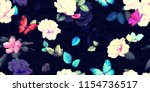 wide floral vintage seamless... | Shutterstock . vector #1154736517