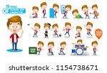 school kid in red shirt. ready... | Shutterstock .eps vector #1154738671