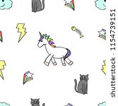 unicorn and cat seamless doodle ... | Shutterstock .eps vector #1154739151