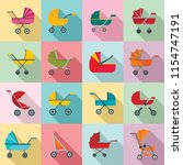pram stroller carriage cradle...   Shutterstock . vector #1154747191