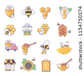 honey icons  thin line color set | Shutterstock .eps vector #1154750374