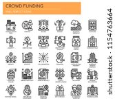 crowdfunding   thin line and... | Shutterstock .eps vector #1154763664