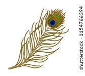 vector feather of peacock bird... | Shutterstock .eps vector #1154766394