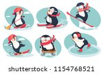 activity in winter. activity in ... | Shutterstock .eps vector #1154768521